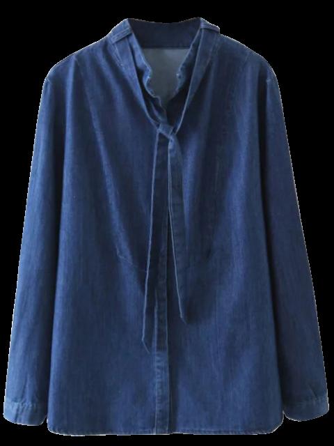 unique Tie Neck Denim Blouse - DENIM BLUE S Mobile