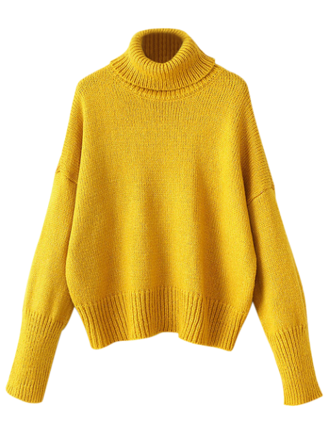 unique Roll Neck Oversized Jumper - YELLOW ONE SIZE Mobile