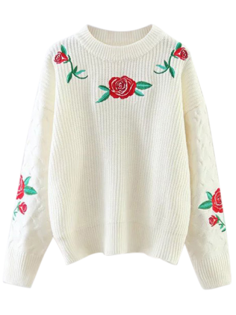 sale Chunky Embroidered Oversized Sweater - WHITE ONE SIZE Mobile