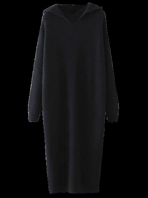 women Hooded Midi Jumper Dress - BLACK ONE SIZE Mobile