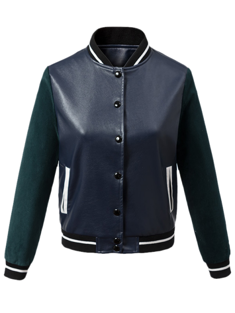 best Corduroy PU Leather Baseball Jacket - BLUE AND GREEN XL Mobile