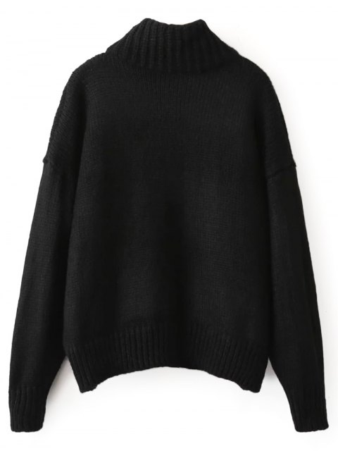 outfit Roll Neck Sequins Sweater - BLACK ONE SIZE Mobile