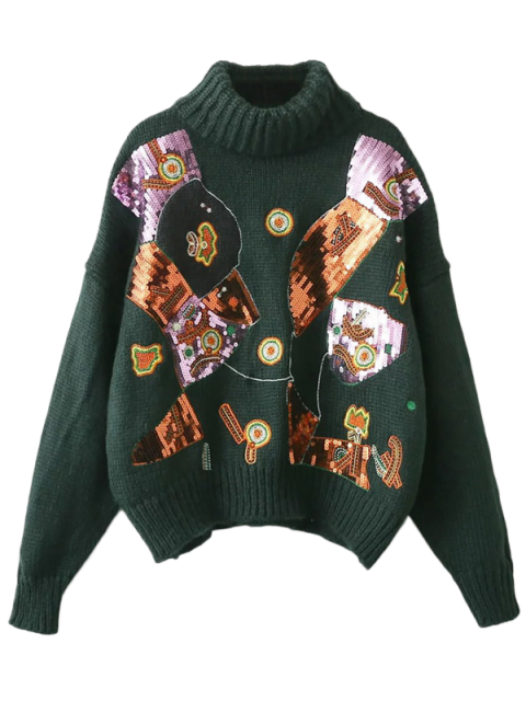 shop Roll Neck Sequins Sweater - BLACKISH GREEN ONE SIZE Mobile