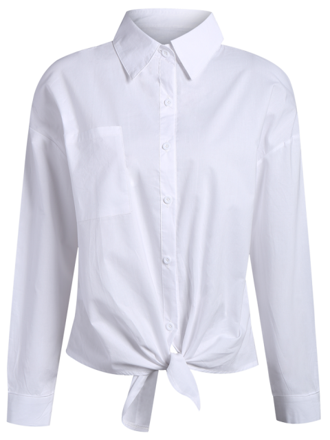 sale Pocket Tie Knot Shirt - WHITE XL Mobile
