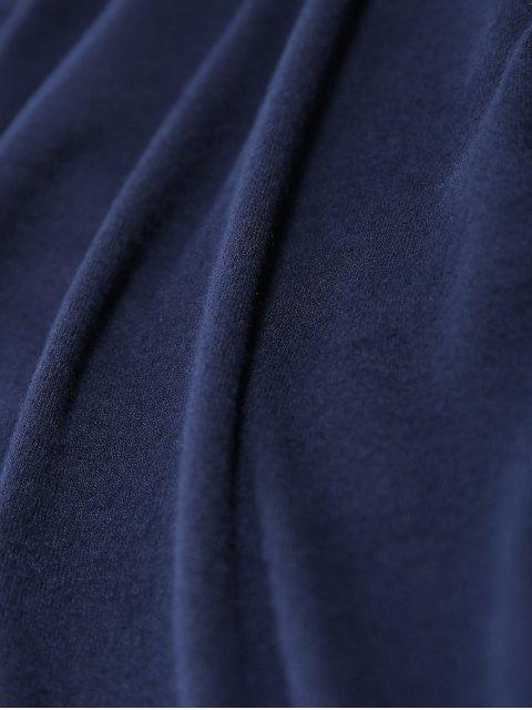 fashion Foldover Off Shoulder Top - PURPLISH BLUE L Mobile