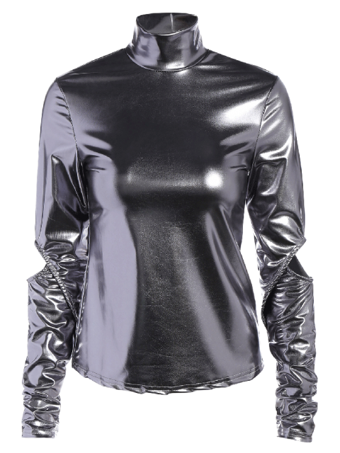 trendy High Collar Metallic Color Top - SILVER XL Mobile