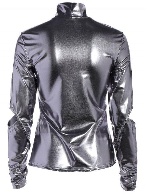 chic High Collar Metallic Color Top - SILVER M Mobile