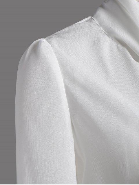 ladies Bow Tie See-Through Blouse - WHITE M Mobile
