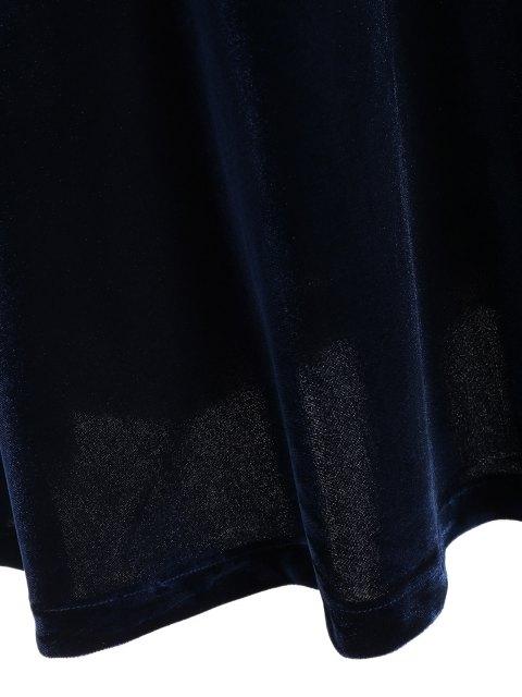 shop Fitting Velvet Swing Dress - CADETBLUE XL Mobile