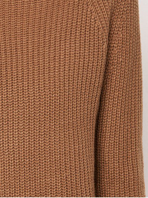 affordable Mock Neck Cut Out Sweater - KHAKI ONE SIZE Mobile