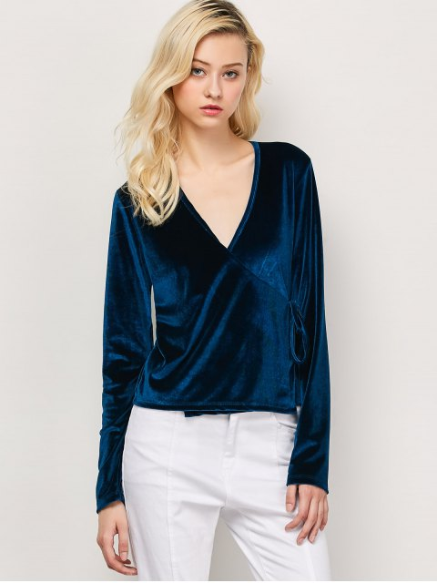 online Long Sleeve Velvet Wrap Top - CADETBLUE M Mobile