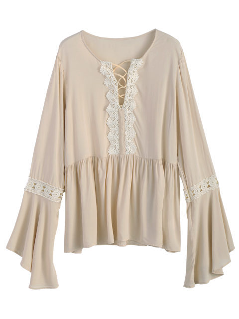shop Bell Sleeve Smock Blouse - OFF-WHITE M Mobile