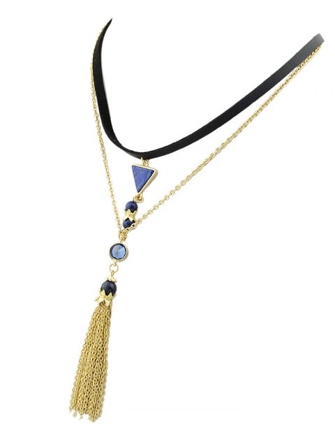 fashion Triangle Tassel Layered Necklace - GOLDEN  Mobile