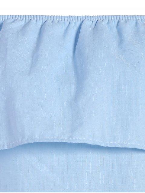 trendy Ruffled Off The Shoulder Mini Dress - LIGHT BLUE M Mobile