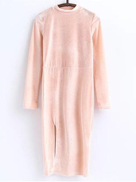 chic Side Slit Long Sleeve Velour Dress - LIGHT PINK M Mobile
