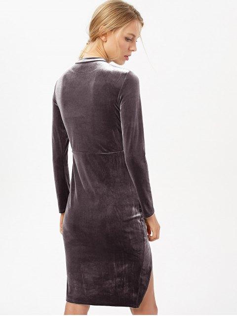 sale Side Slit Long Sleeve Velour Dress - BLACK PURPLE S Mobile