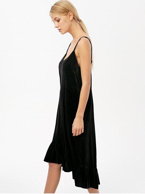 chic Frilled Velvet Cami Dress - BLACK M Mobile