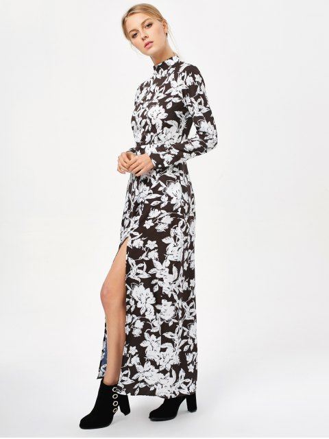 lady Printed Thigh Split Maxi Dress - WHITE AND BLACK M Mobile