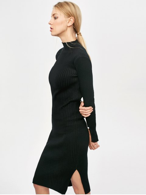 chic Side Slit Bodycon Sweater Dress - BLACK ONE SIZE Mobile
