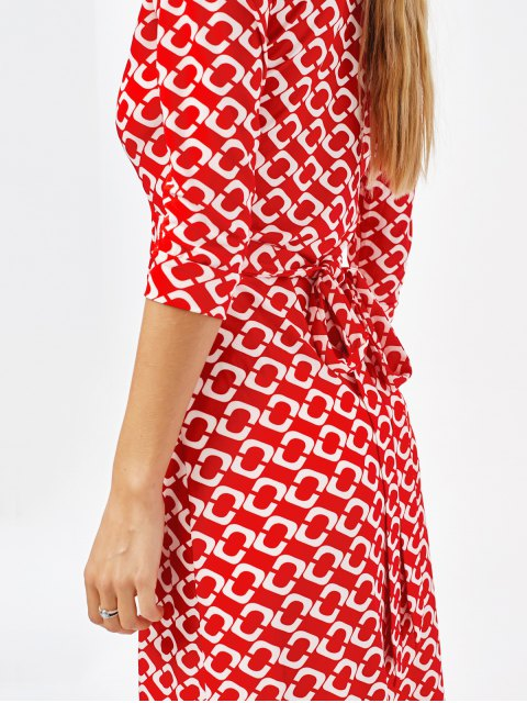outfit High Slit V Neck Retro Print Maxi Dress - RED XL Mobile