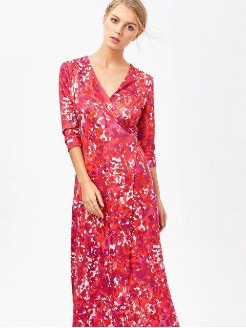 sale Printed High Slit Wrap Maxi Dress - RED M Mobile