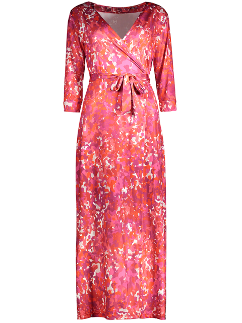 unique Printed High Slit Wrap Maxi Dress - RED L Mobile