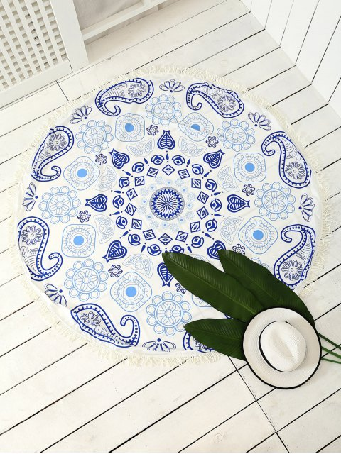 unique Paisley Patterned Tassels Beach Throw - BLUE ONE SIZE Mobile