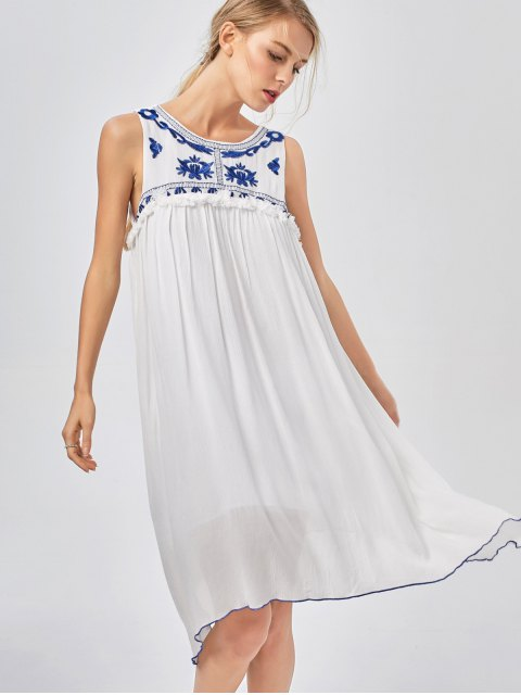 hot Hanky Hem Embroidered Bohemian Dress - BLUE AND WHITE S Mobile