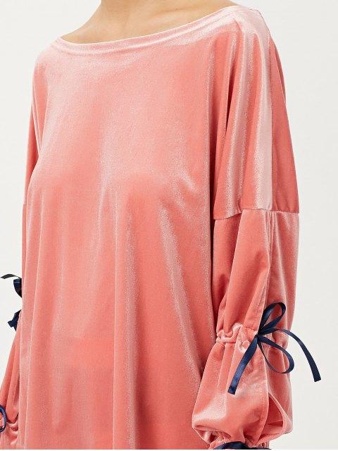shop Boat Neck Split Sleeve Velvet Top - PINK XL Mobile