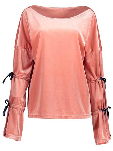 trendy Boat Neck Split Sleeve Velvet Top - PINK S Mobile