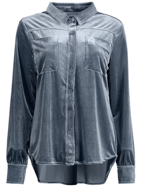fashion Velvet Shirt With Pockets - BLUE GRAY XL Mobile