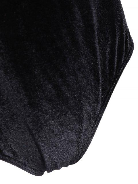 shops Flounce Velvet Swimsuit - BLACK 4XL Mobile