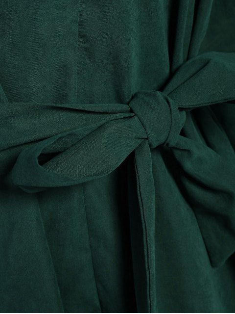 online Tie Belt Midi Shirt Dress - DEEP GREEN 2XL Mobile