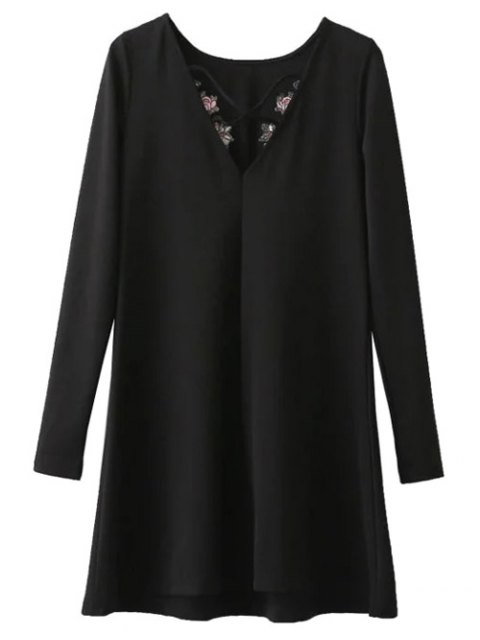 trendy Flounced Embroidered Long Sleeve Dress - BLACK L Mobile