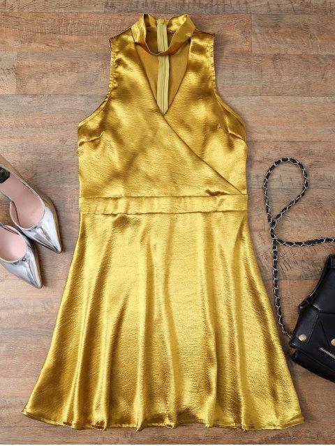 chic Mini Metallic Satin Choker Dress - GOLDEN XL Mobile