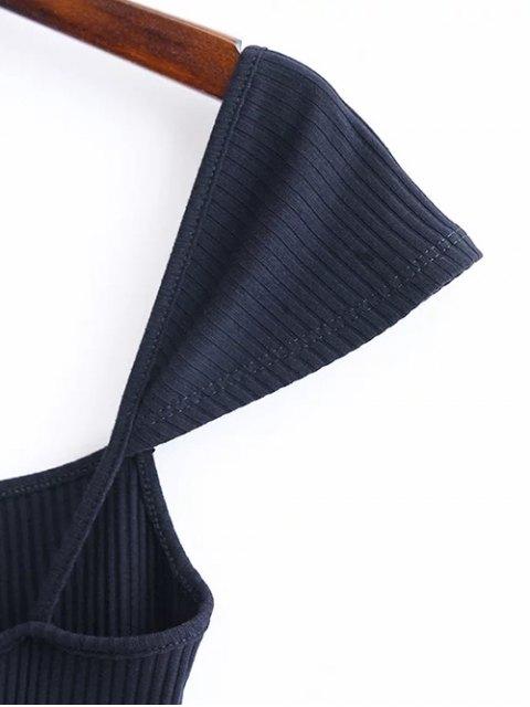 shops Low Back Ribbed Cap Sleeve Pencil Dress - PURPLISH BLUE M Mobile