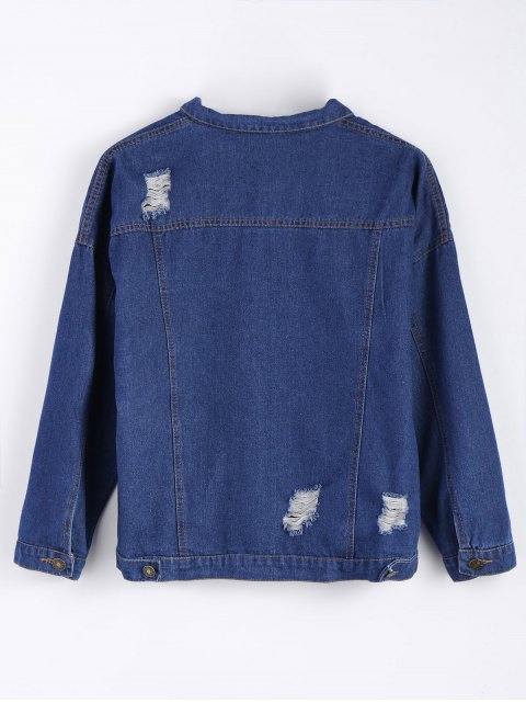sale Frayed Pockets Denim Shirt Jacket - DEEP BLUE S Mobile