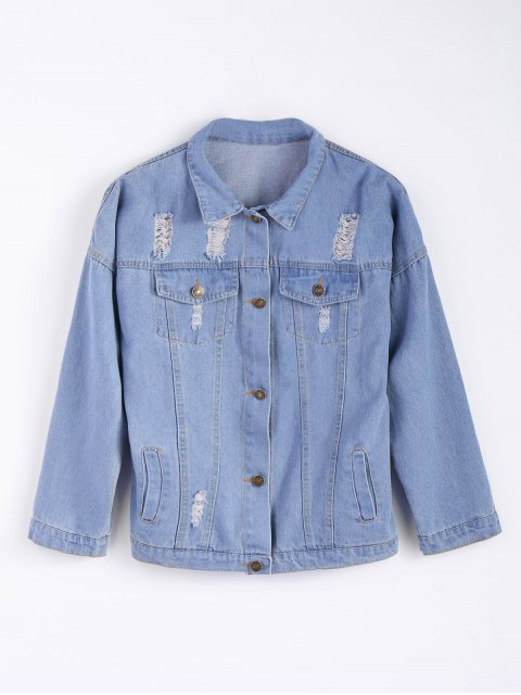 women's Frayed Pockets Denim Shirt Jacket - LIGHT BLUE S Mobile