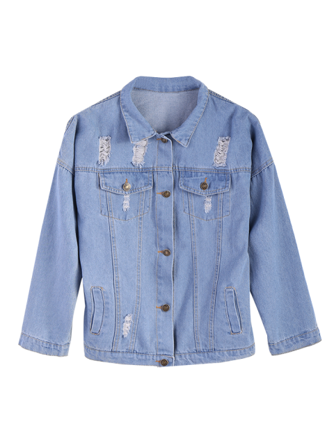 womens Frayed Pockets Denim Shirt Jacket - LIGHT BLUE L Mobile