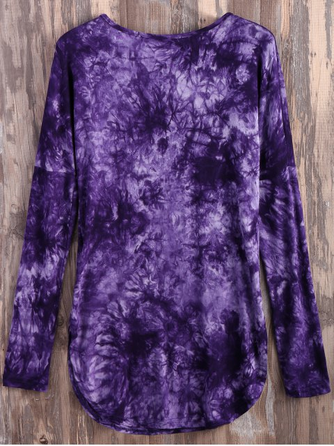hot Tie Dyed Long Sleeves Tee - PURPLE XL Mobile