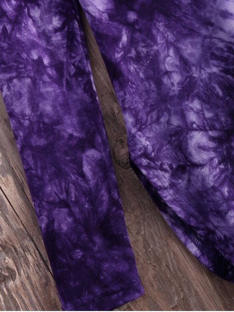 shop Tie Dyed Long Sleeves Tee - PURPLE S Mobile