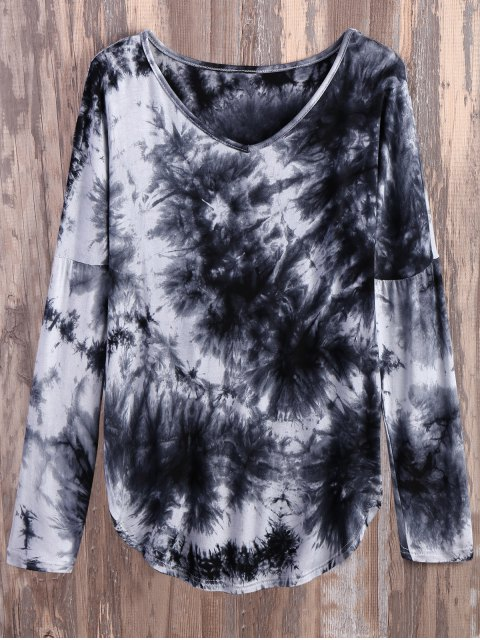 trendy V Neck Long Sleeve Tie Dyed Tee - WHITE AND BLACK M Mobile