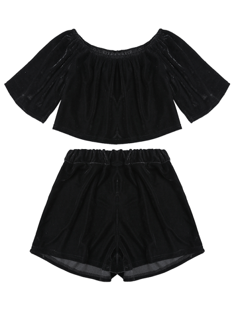 affordable Velvet Crop Top and Shorts - BLACK S Mobile