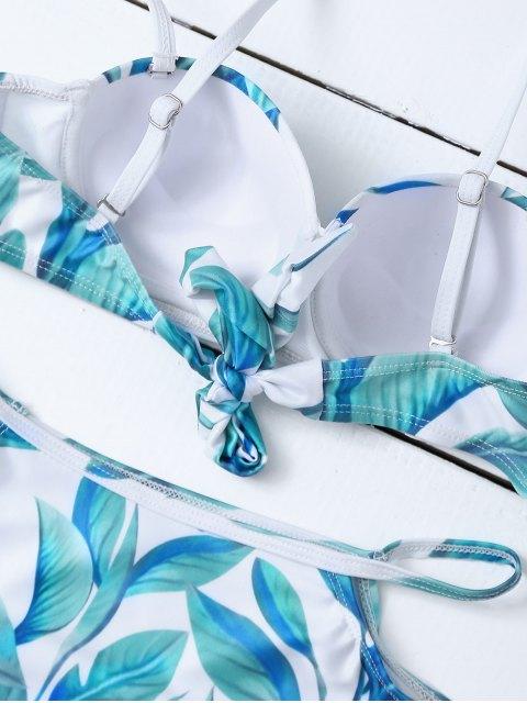 buy Cut Out High Waisted Leaf Print Bikini - WHITE L Mobile