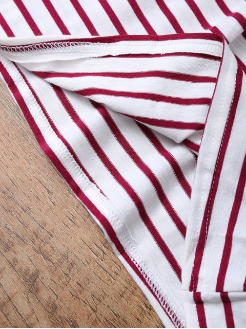 women's Striped Off The Shoulder Ruffles Top - RED WITH WHITE M Mobile