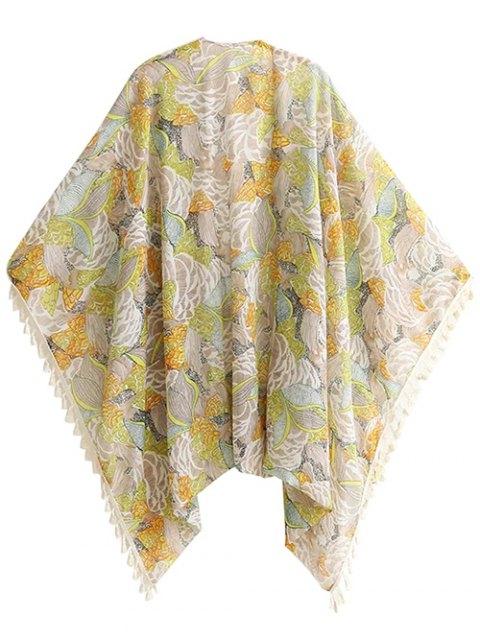 women Bohemian Printed Tassel Kimono - FLORAL S Mobile