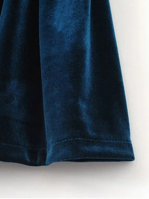 shops Low Back Slip Velvet Skirted Romper - PEACOCK BLUE M Mobile