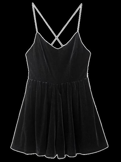 chic Low Back Slip Velvet Skirted Romper - BLACK S Mobile