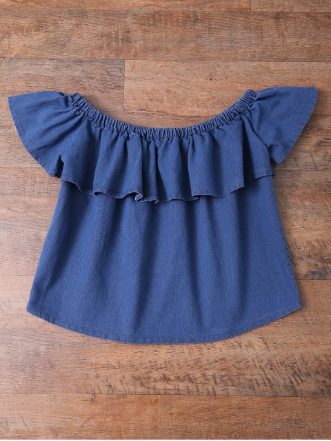 lady Off The Shoulder Denim Frill Top - DENIM BLUE XL Mobile