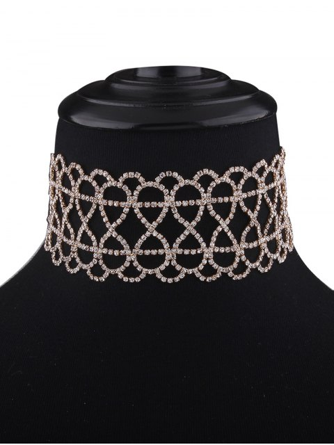 trendy Bowknot Hollowed Infinite Rhinestoned Necklace -   Mobile